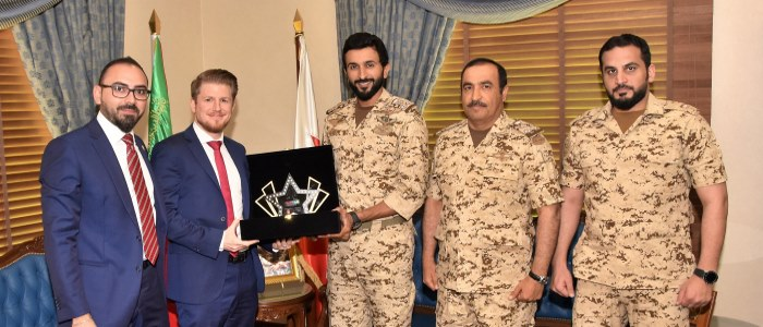 HH Brigadier General Shaikh Nasser bin Hamad Al Khalifa is presented with the MESE 2018 Trophy by Thomas Gaunt