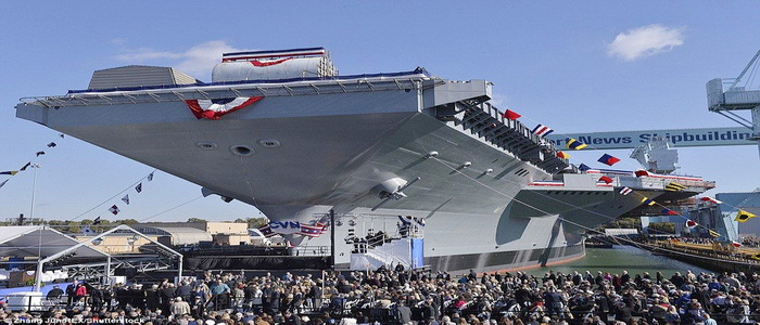 U.S. Navy christens newest aircraft carrier.